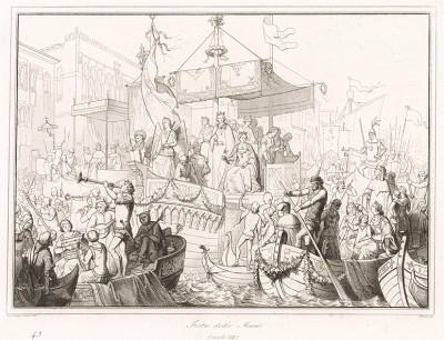 XIII век. Открытие вецианского карнавала праздником Feste delle Marie, посвященным освобождению венецианских девушек, похищенных пиратами из Истрии. Storia Veneta, л.43. Венеция, 1864