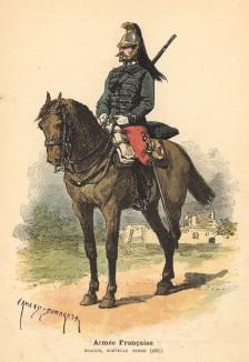 Французский драгун в новой форме образца 1887 года (из альбома литографий Armée française et armée russe, изданного в Париже в 1888 году)