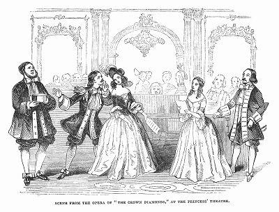 """Опера """"Алмазы короны"""" -- успех французского композитора, мастера французской комической оперы Даниэля-Франсуа-Эспри Обера (1782 -- 1871 гг.) на сцене лондонского театра Принцессы (The Illustrated London News №106 от 11/05/1844 г.)"""