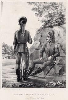 Историческое описание одежды и вооружения российских войск... А. В. Висковатова. Егеря: рядовой и сержант с 1786 по 1796 год (лист 546)