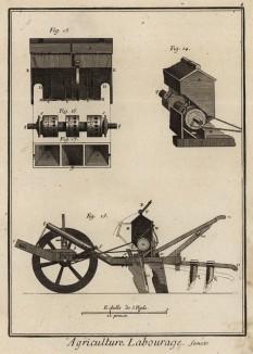 Земледелие. Хлебопашество. Сеялка, её детали и вид сбоку. (Ивердонская энциклопедия. Том I. Швейцария, 1775 год)
