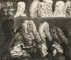 Судьи, 1758. Гравюра, выполненная с живописного полотна того же года, существенно отличается от картины. Хогарт, выделяя гравюру как особый вид искусства, экспериментирует с графическим средствами изображения. Лондон, 1838