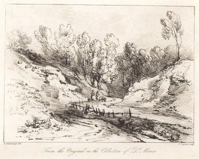 Прогулка у ручья. Гравюра с рисунка знаменитого английского пейзажиста Томаса Гейнсборо из коллекции  британского мецената Т. Монро. A Collection of Prints ...of Tho. Gainsborough, Лондон, 1819.