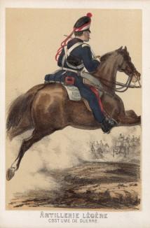 Солдат испанской лёгкой артиллерии в полевой форме образца 1860 года (из альбома литографий L'Espagne militaire, изданного в Париже в 1860 году)
