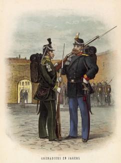 Егерь и гренадер голландской армии (иллюстрация к работе Onze krijgsmacht met bijshriften... (голл.), изданной в Гааге в 1886 году)