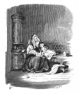 Кронприц Фридрих и его первая воспитательница, французская эмигрантка мадемуазель де Рокуль, зародившая в будущем короле любовь к французской литературе. Geschichte Friedrichs des Grossen von Franz Kugler. Лейпциг, 1842, с.17