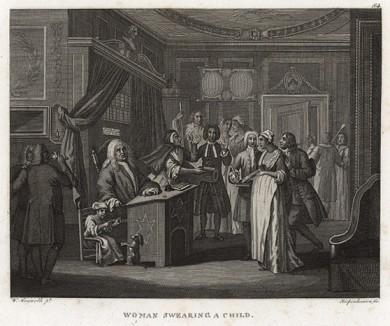 Клятва о внебрачном отцовстве, 1731. Пародия на правосудие. Маленькая девочка рядом с судьей играет с собачкой в «палача и жертву». Пожилой господин, которому вменяется внебрачное отцовство, поднимает руки, отказываясь от обвинений. Геттинген, 1854