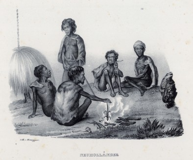 Поедание жареных ящериц обитателями Новой Голландии (историческое название Австралии до 1824 года) (лист 34 второго тома работы профессора Шинца Naturgeschichte und Abbildungen der Menschen und Säugethiere..., вышедшей в Цюрихе в 1840 году)