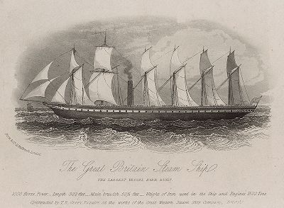 """Парусно-паровой трансокеанский лайнер """"Великобритания"""", построенный по проекту Уильяма Паттерсона (1795–1869) для регулярного сообщения Бристоль - Нью-Йорк. Гравюра, выпущенная в ознаменование первого рейса в 1843 году."""