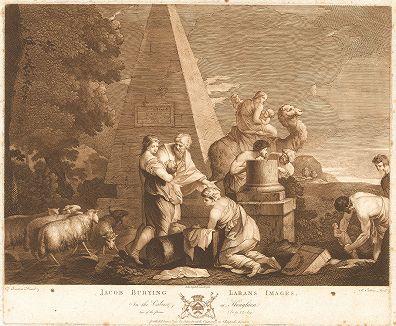 Иаков закапывает идолов Лавана. UГравюра Ричарда Ирлома с оригинала Себастьяна Бурдона из коллекции Роберта Уолпола. Лист из издания The Houghton Gallery, Лондон, 1778.