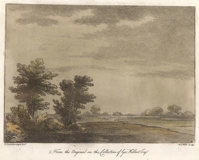 Пейзаж с полем. Гравюра с рисунка знаменитого английского пейзажиста Томаса Гейнсборо из коллекции Дж. Хибберта. A Collection of Prints ...of Tho. Gainsborough, Лондон, 1819.