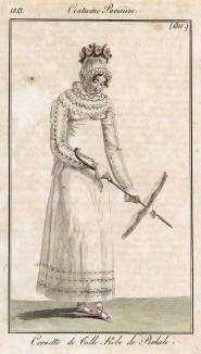 Тюлевый чепец, перкалевое летнее платье и парасоль. Из первого французского журнала мод эпохи ампир Journal des dames et des modes, Париж, 1813. Модель № 1311