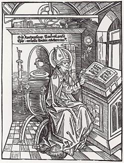 Святой Амвросий Медиоланский в библиотеке (титульный лист первого тома книги Ambrosii Opera (лат.)), гравированный Дюрером в 1492 году