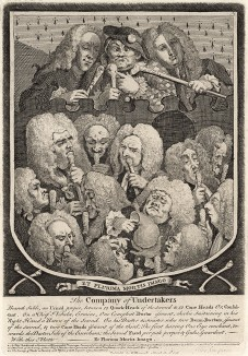 Компания из Андертейкерса, 1736. Шуточный герб медицинской братии. Три опытных врача (исторические лица): мужеподобная Сара Мэпп в центре, Джошуа Ворд слева, Джон Тейлор справа - возвышаются на группой медиков-практикантов. Лондон, 1838