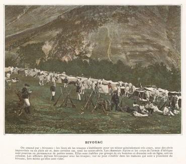 Бивуак в горах. L'Album militaire. Livraison №2. Infanterie. Serviсe en campagne. Париж, 1890