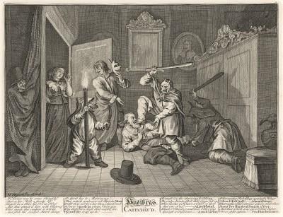 Гудибрас, 1725-26. Гудибрас получает наставление. Освобожденный из плена богатой вдовой, Гудибрас планирует на ней жениться. Однако женщина, узнав, что Гудибрас увлечен только ее деньгами, поручает слугам преподать ему урок морали. Лондон, 1838