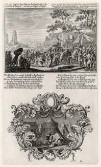 1. Авигея приветствует Давида 2. Давид видит Саула, спящего в шатре (из Biblisches Engel- und Kunstwerk -- шедевра германского барокко. Гравировал неподражаемый Иоганн Ульрих Краусс в Аугсбурге в 1700 году)