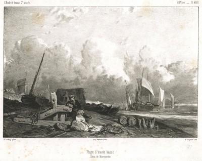 Нормандский берег. Литография с картины французского художника Жан-Батиста Изабе.