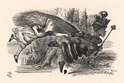 """""""А ну, давай! - кричала Королева. - Еще быстрее!"""" (иллюстрация Джона Тенниела к книге Льюиса Кэрролла «Алиса в Зазеркалье», выпущенной в Лондоне в 1870 году)"""