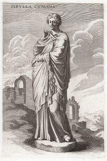 Кумская сивилла из палаццо Джустиниани. Лист из Sculpturae veteris admiranda ... Иоахима фон Зандрарта, Нюрнберг, 1680 год.