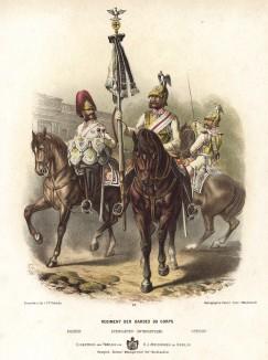 Литаврщик и кавалеристы прусской конной гвардии в униформе дворцового караула образца 1870-х гг. Preussens Heer. Берлин, 1876