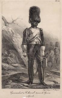 Полевая форма французского конного гренадера (редкая литография Н.-Т. Шарле, посвящённая гвардии недавно свергнутого Наполеона. Париж. 1817 год)