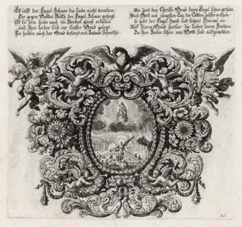 Иисус во славе своей (из Biblisches Engel- und Kunstwerk -- шедевра германского барокко. Гравировал неподражаемый Иоганн Ульрих Краусс в Аугсбурге в 1694 году)