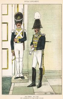 Гренадер и офицер шведской лейб-гвардии в униформе образца 1817-33 гг. Svenska arméns munderingar 1680-1905. Стокгольм, 1911