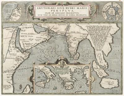 Карта части Азии. Erythraei sive Rubri Maris Periplus Olim ab Arriano descriptus. Составил Абрахам Ортелиус. Антверпен, 1601