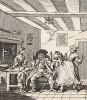 """Возвращение фермера, 1761. Фронтиспис к одноименной пьесе Дэвида Гаррика (1717-79), драматурга и директора придворного театра """"Друри Лейн"""", личного друга Хогарта. Оригинал гравюры до смерти вдовы драматурга хранился в личном архиве Гаррика. Лондон, 1838"""