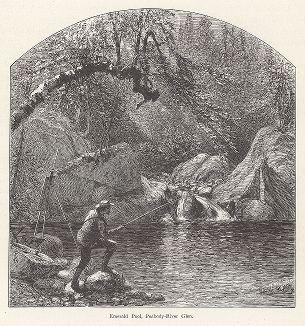 """Рыбалка в заводи Эмеральд, река Пибоди-ривер, Белые горы, штат Нью-Гемпшир. Лист из издания """"Picturesque America"""", т.I, Нью-Йорк, 1872."""