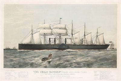 """""""The Great Eastern"""" - крупнейший пароход XIX века.  Спущен на воду в 1858 году, водоизмещение - 22,5 тысяч тонн."""