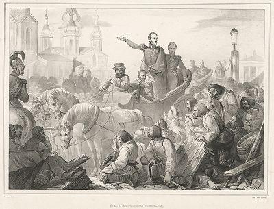 22 июня 1831 года. Николай I на Сенной площади усмиряет холерный бунт в Санкт-Петербурге.