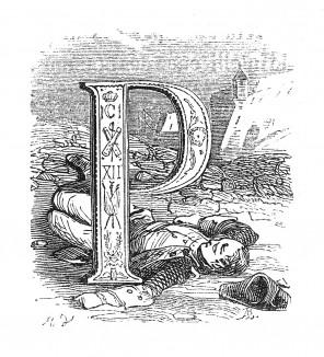 Инициал (буквица) P, предваряющий тридцать вторую главу «Истории императора Наполеона» Лорана де л'Ардеша о назначении генерала Бернадота наследником короля Швеции, о присоединении Голландии к Франции. Париж, 1840