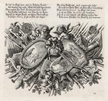 Аллегорическая заставка на тему «Книги Маккавейской» (из Biblisches Engel- und Kunstwerk -- шедевра германского барокко. Гравировал неподражаемый Иоганн Ульрих Краусс в Аугсбурге в 1694 году)