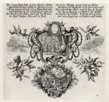 Три ангела в доме Лота (из Biblisches Engel- und Kunstwerk -- шедевра германского барокко. Гравировал неподражаемый Иоганн Ульрих Краусс в Аугсбурге в 1694 году)