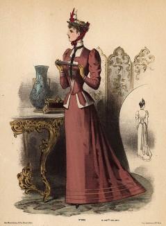 Элегантный дамский костюм с приталенным жакетом. Из французского модного журнала Le Coquet, выпуск 288, 1892 год
