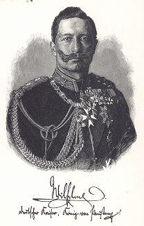 Германский император Вильгельм II (1859-1941). Факсимиле подписи (автограф) Вильгельма II. Фронтиспис работы Die Heere und Flotten der Gegenwart. Берлин, 1896