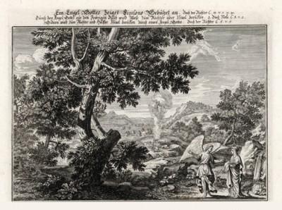 Ангел указывает путь Израилю (из Biblisches Engel- und Kunstwerk -- шедевра германского барокко. Гравировал неподражаемый Иоганн Ульрих Краусс в Аугсбурге в 1694 году)