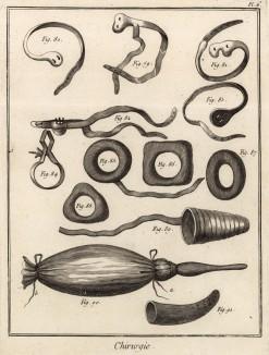 Хирургия. Бандаж для поддержания грыжи, расширитель (Ивердонская энциклопедия. Том III. Швейцария, 1776 год)