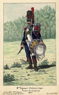 1810 г. Барабанщик роты карабинеров 8-го полка французской легкой пехоты. Коллекция Роберта фон Арнольди. Германия, 1911-28