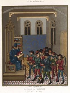 Средневековый мастер-класс по агрикультуре для французских крестьян: даёшь пятилетку за один год! (из Les arts somptuaires... Париж. 1858 год)
