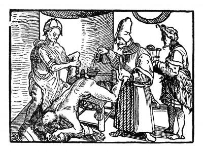 Лодовико ди Вартема ставит клизму туземцу. Иллюстрация Йорга Бреу Старшего к описанию путешествия на восток Лодовико ди Вартема: Ludovico Vartoman / Die Ritterliche Reise. Издал Johann Miller, Аугсбург, 1515