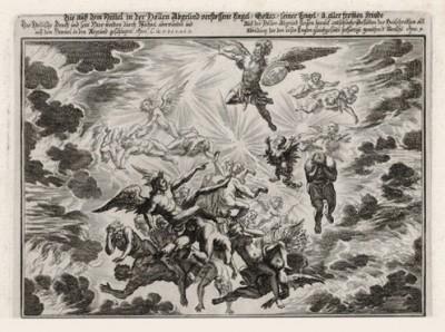 Архангел Михаил и ангелы сражаются со Зверем (из Biblisches Engel- und Kunstwerk -- шедевра германского барокко. Гравировал неподражаемый Иоганн Ульрих Краусс в Аугсбурге в 1694 году)