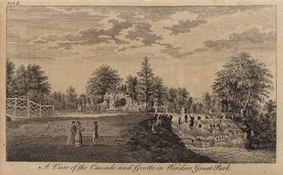 Вид на водопад и грот в парке Виндзорского замка (Виндзорский парк) (из A New Display Of The Beauties Of England... Лондон. 1776 год. Том 1. Лист