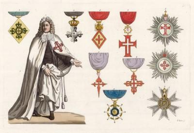 Испанские ордены (из работы Джулио Феррарио Il costume antico e moderno, o, storia... di tutti i popoli antichi e moderni, изданной в Милане в 1826 году (Европа. Том V))