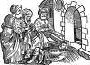 Мнимый больной. Иллюстрация Йорга Бреу Старшего к описанию путешествия на восток Лодовико ди Вартема: Ludovico Vartoman / Die Ritterliche Reise. Издал Johann Miller, Аугсбург, 1515