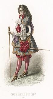 Французские моды эпохи Людовика XIV. Парик, камзол, бархатные кюлоты с бантами, расшитый золотом камзол поверх рубашки с кружевным воротником.
