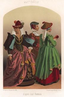 Модные немецкие горожанки XVI века (по мотивам картины Иоста Аммана) (из Les arts somptuaires... Париж. 1858 год)