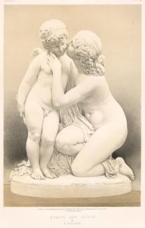 """Копия скульптуры """"Нимфа и купидон"""" из дворца Осборн-Хаус, принадлежавшей английской королеве Елизавете I. В XVI веке композиция называлась «Невинность в опасности» (Каталог Всемирной выставки в Лондоне. 1862 год. Том 1. Лист 8)"""